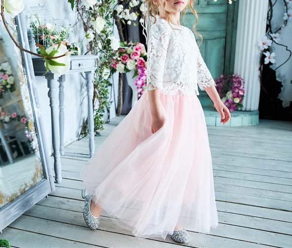 Long Sleeve Flower Girl Dress with Floral Lace Design and Long Flowing Skirt