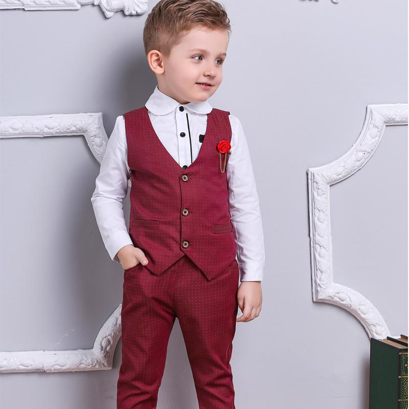 Burgundy Red Boy Suits for Ring Bearers, Flower Boys, or Wedding Guests - 3 Piece Vest + Pants + Shi