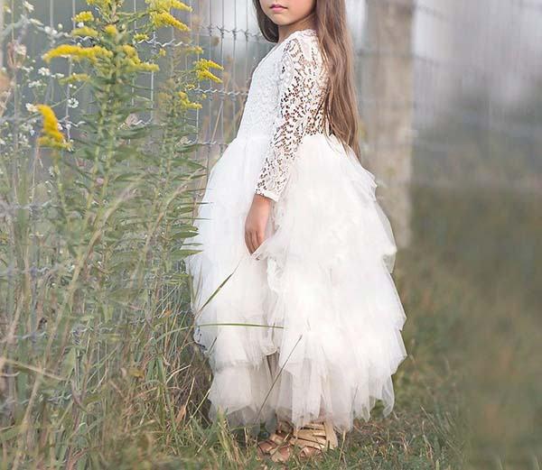 Long Sleeve Flower Girl Dress with Pretty Floral Lace Design
