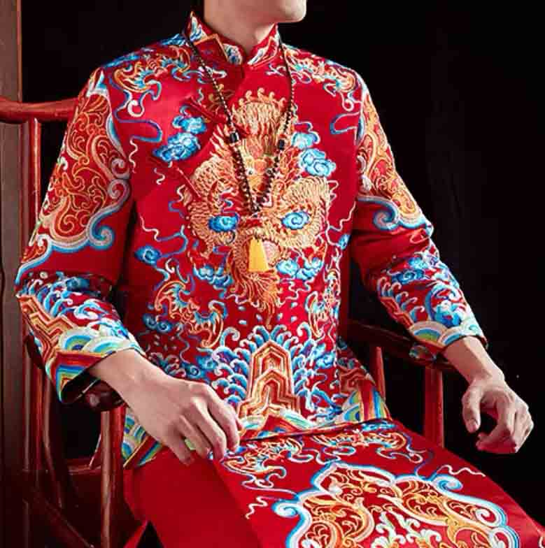 Groom's Wedding Qun Kua/Cheongsam 男士龍鳳卦 for Men in Red with Top and Bottom Elegant Colorful Embroide