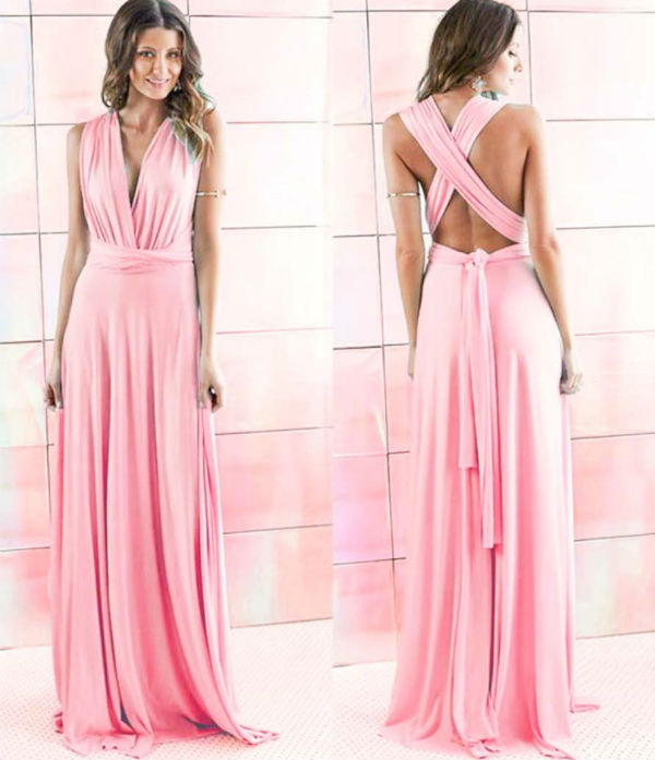 Chic Pink Convertible Infinity Multiway Wrap Bridesmaids Dresses