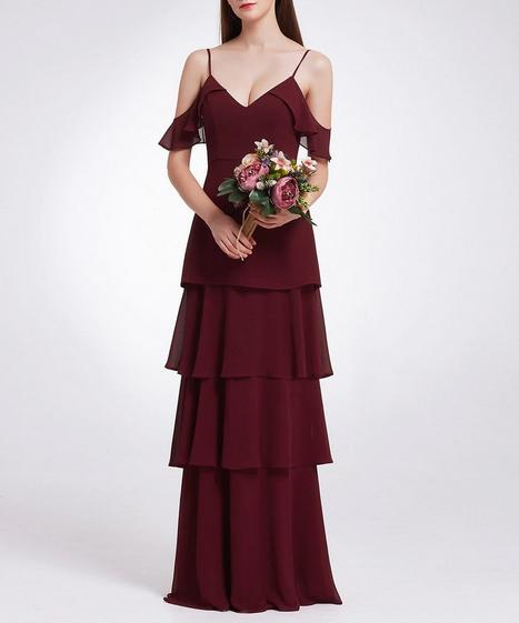 Maroon Dark Red Bridesmaids Dress with Perfect Fit with Flutter Sleeves and Ruffle Skirt