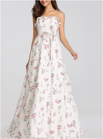 Floral Tube Floor Length Bridesmaids Dress with Perfect Fit
