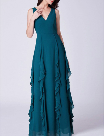 Sleeveless V-Neck Bridesmaids Dress with Perfect Fit with Ruffle Pleated Skirt