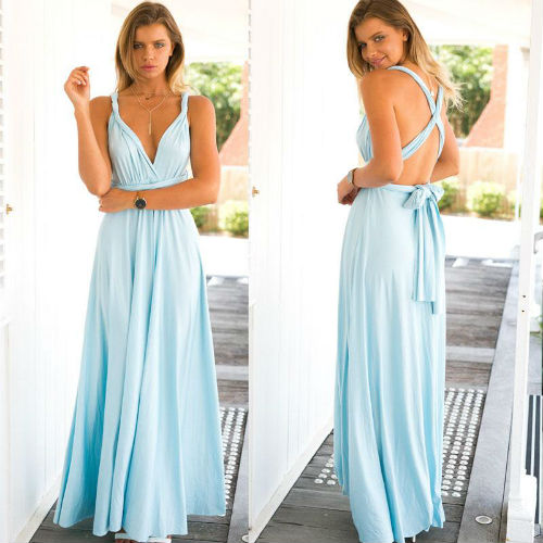 Baby Blue Katherine Convertible Infinity Multiway Wrap Bridesmaids Dresses