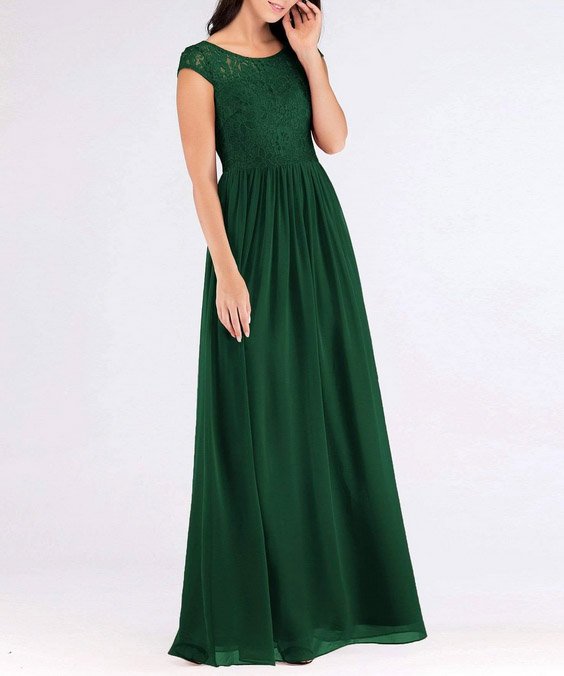 Moss Green Bridesmaids Dress with Perfect Fit with Floral Lace Top