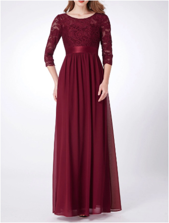 Burgundy Chiffon Bridesmaids Dress with Perfect Fit with Longsleeve Lace Top and Silk Belt