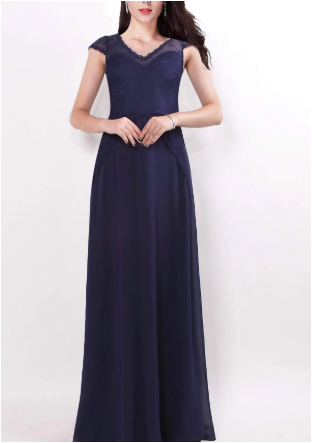 Navy Blue Semi Sleeve Bridesmaids Dress with Perfect Fit with See-through Lace Design Top with Inner