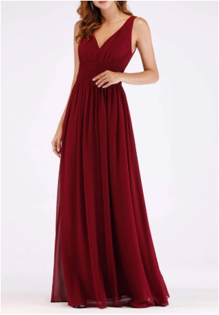 Red V-Neck Stretchy Fabric Bridesmaids Dress with Perfect Fit