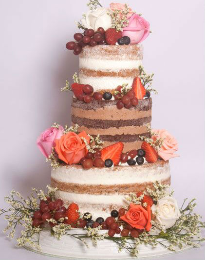 3 or 4-tiered Naked Cake for 75-80 guests