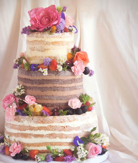 3 or 4-tiered Naked Cake for 85-90 guests-Cakes--