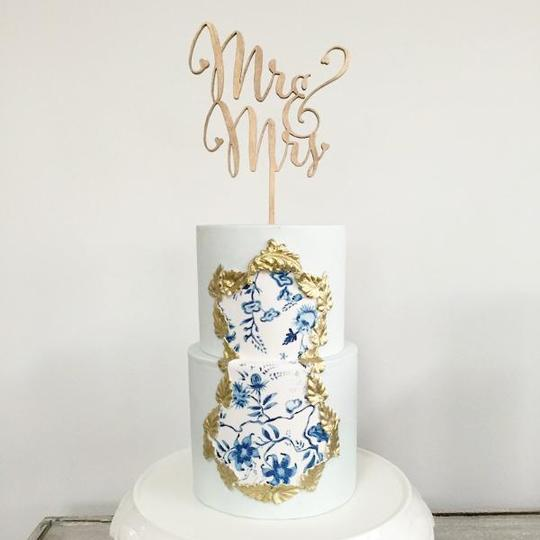 2 Layer Faux Buttercream Wedding Cake 4