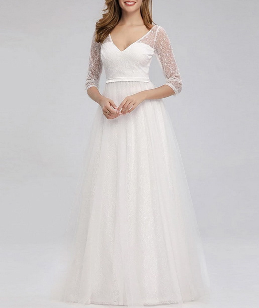 A- Line Simple Wedding Dress Illusion Lace Long Sleeve