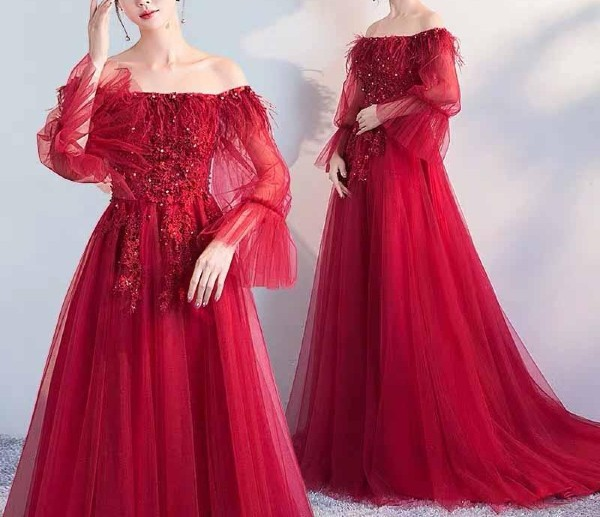 Long Red Off-Shoulder Maternity Wedding Dress with Beads and Lace Design for Expecting Bride Moms