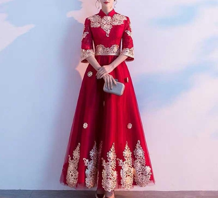 Red Maternity Wedding Dress Designed with Gold Printed for Expecting Bride Moms