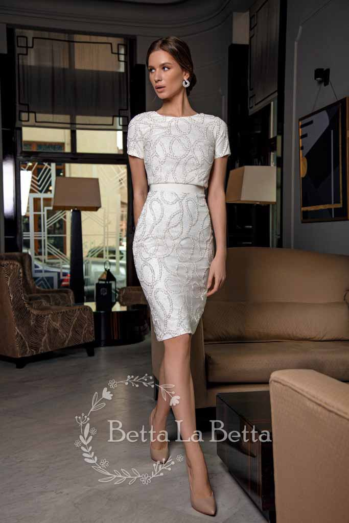[RENT OR BUY] 'Rada' Pair Top and Wedding Skirt Bridal Set with Elegant Spiral Embroidery