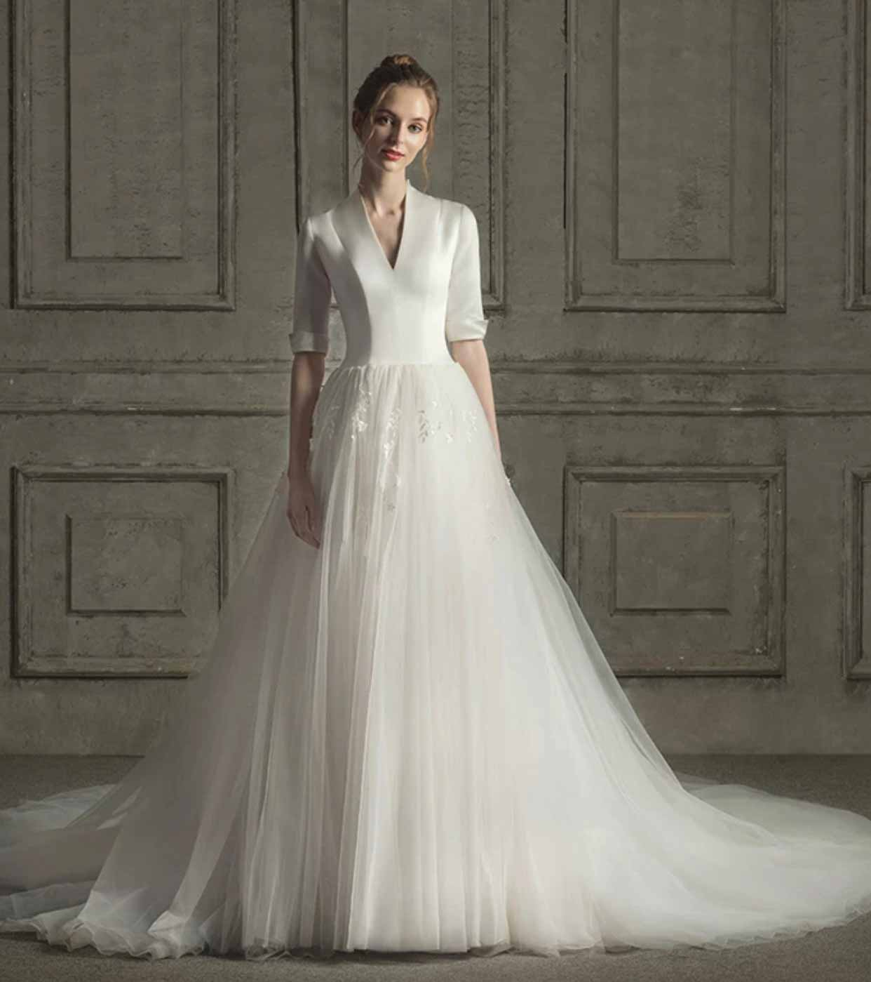 [RENT OR BUY] Custom Made Modest Satin Deep V-Neck Wedding Dress 3/4 Long Sleeve with Laced Tulle Skirt
