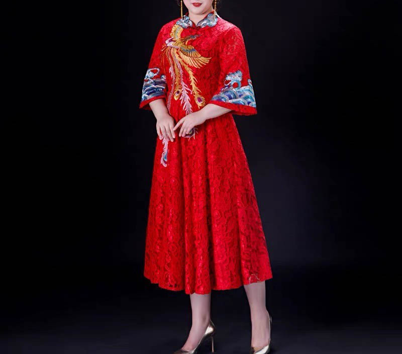 Plus Size Evening Dress CUSTOM MADE Chinese Peacock Design Dress