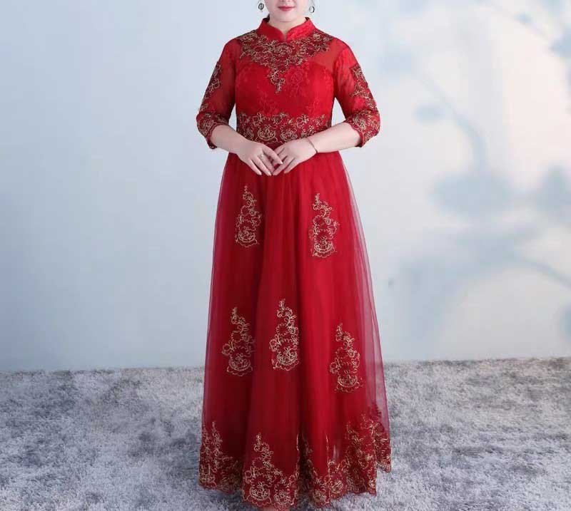 Plus Size Evening Dress CUSTOM MADE Red Close Neck with Gold Embroidery Design Half Sleeves