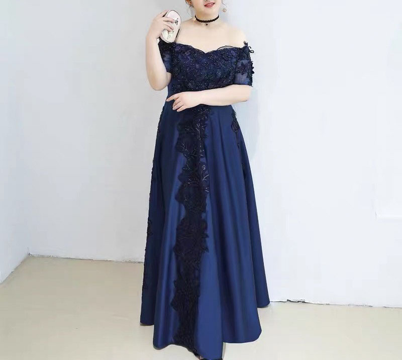 Plus Size Evening Dress CUSTOM MADE with Floral Embroidery Lace Detail Blue Elegant Off Shoulder Dre