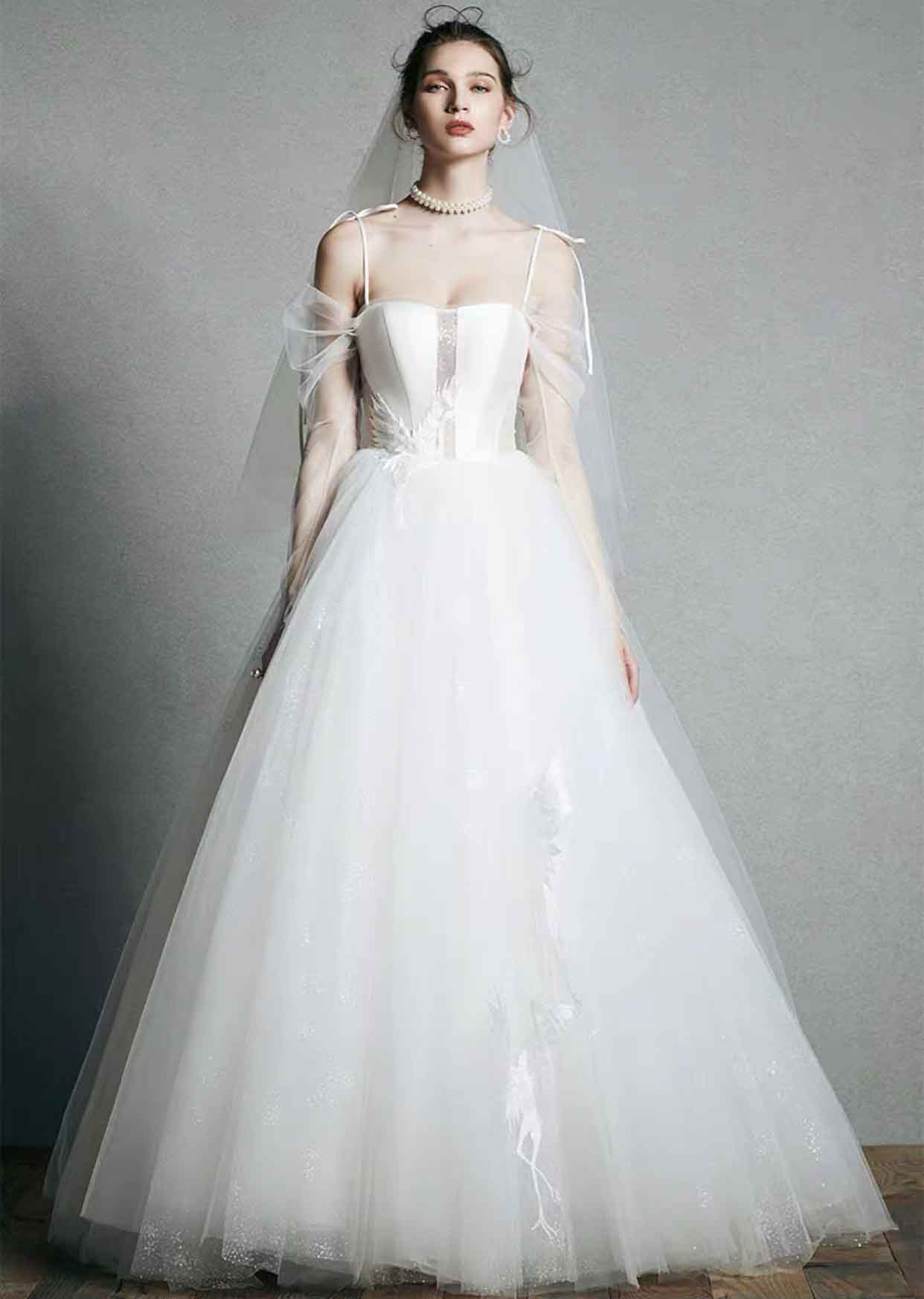 [RENT OR BUY] Custom Made Corset Bodice Wedding Dress with Phoenix Lace Applique and Tulle Sleeve
