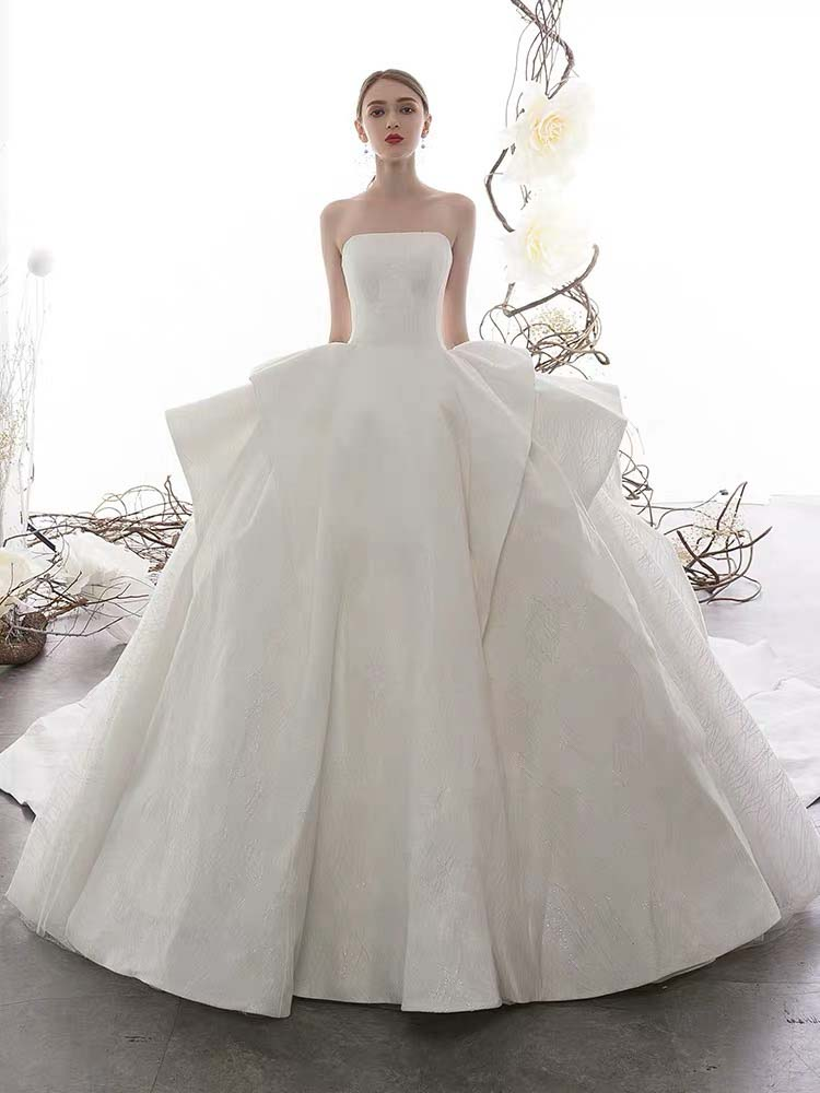 [RENT OR BUY] Custom Made Princess Ball Gown Wedding Dress with Straight Across Neckline