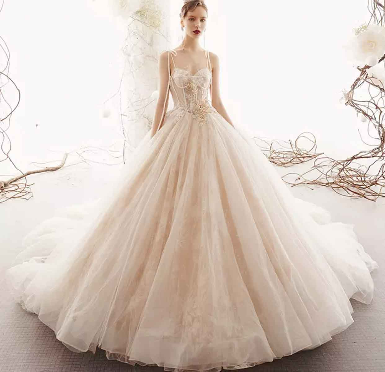 [RENT OR BUY] Custom Made Thin Strap See Through Floral Lace Top Wedding Dress with Flowy Long Monar