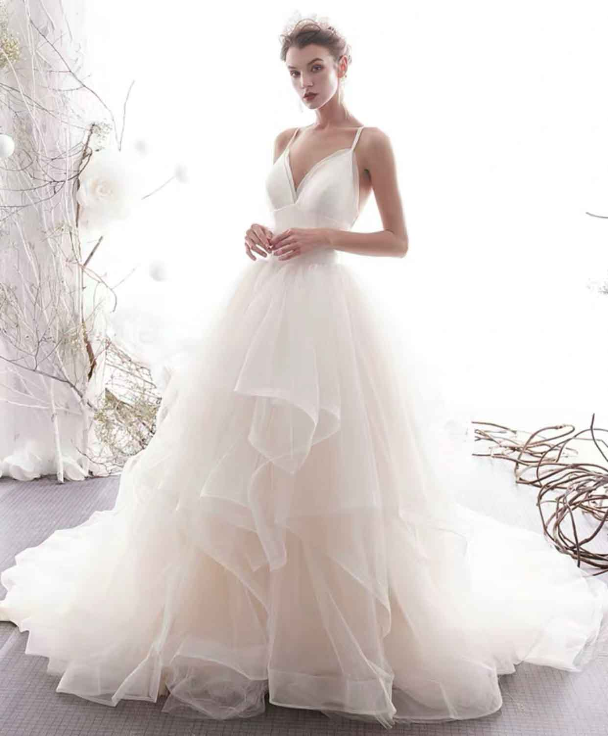 [RENT OR BUY] Custom Made Long Train Organza Layered Ruffled Skirt Wedding Dress with Criss Cross Ba