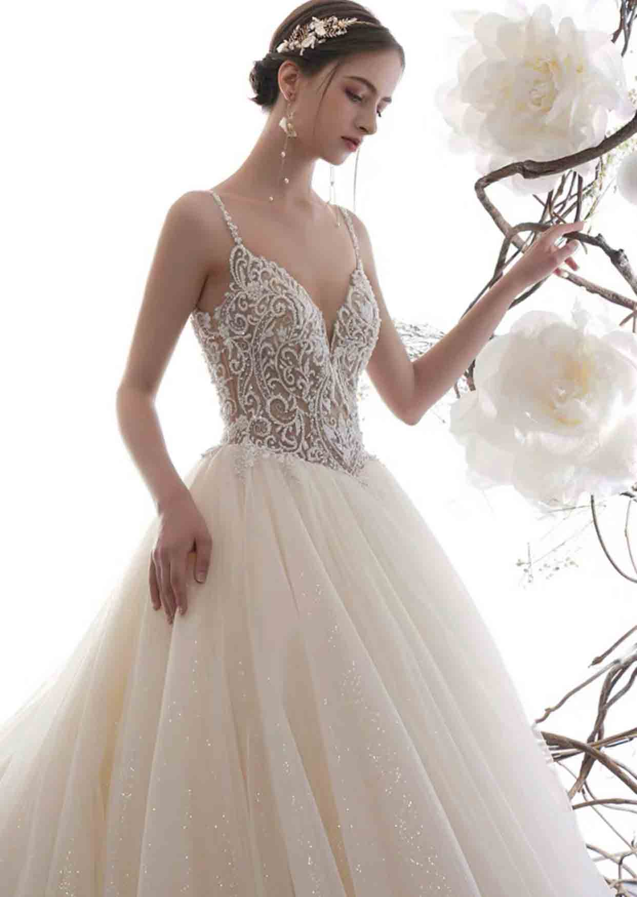 [RENT OR BUY] Custom Made Monarch Sleeveless Full Beaded Deep Back Wedding Dress