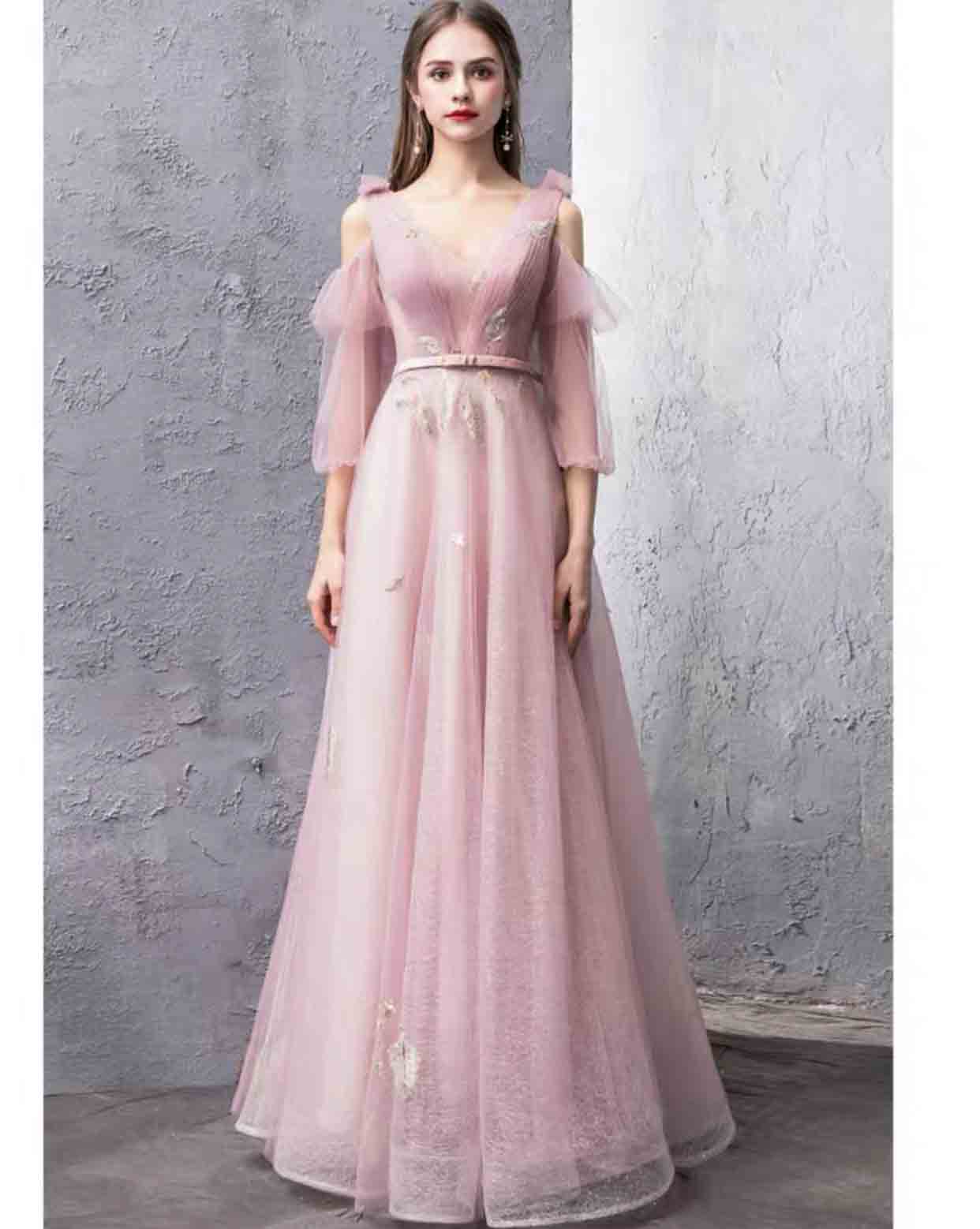 Dusty Pink Silk Organza Evening Gown with Belt and Puff Sleeve Cold Shoulder