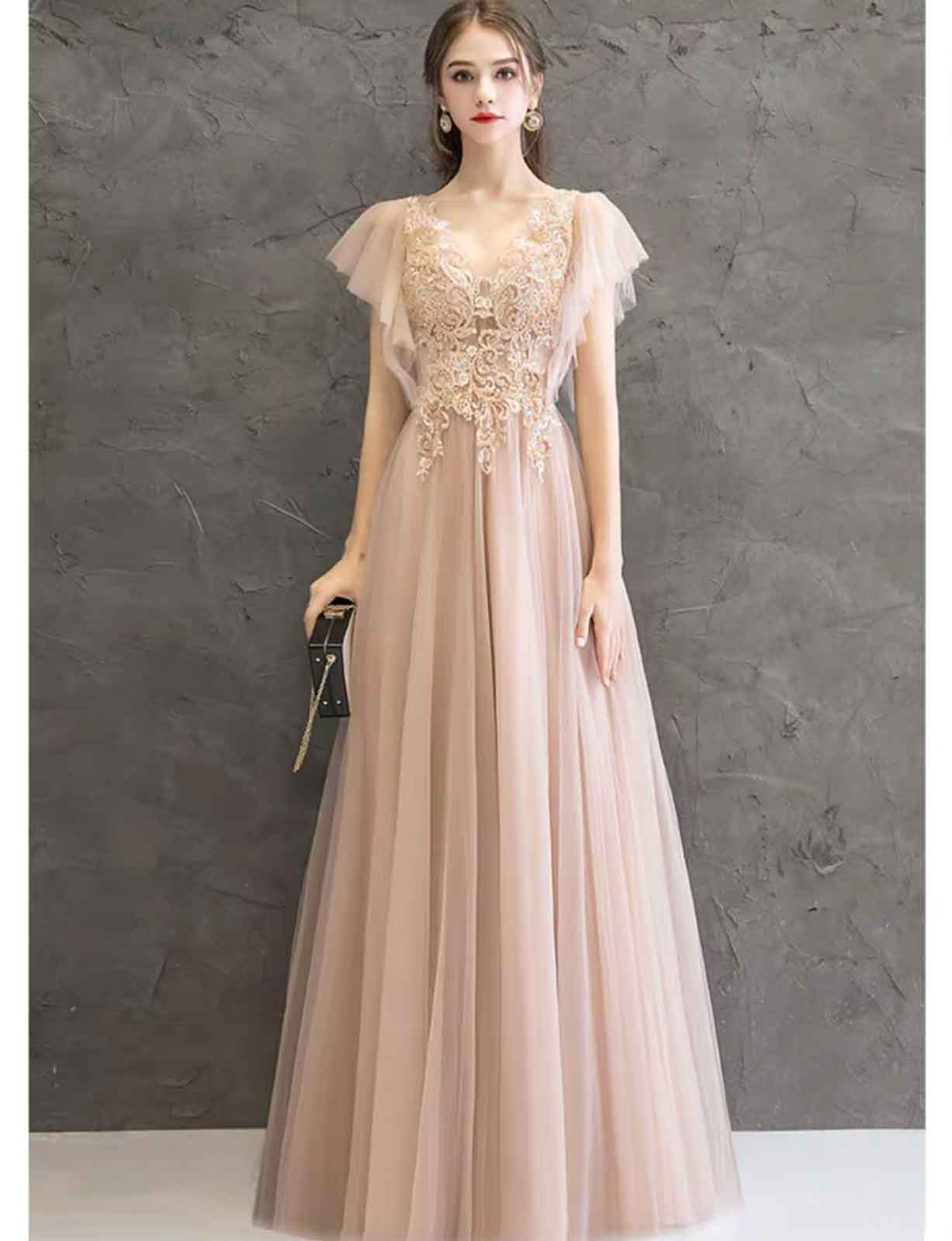Cream Embroidery Embellished Evening Gown with Butterfly Sleeve
