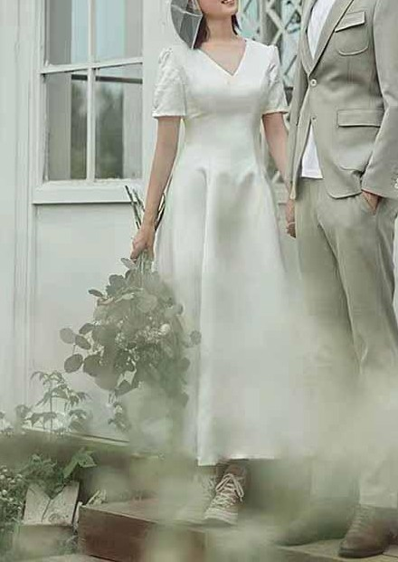 V-Neck Plain Short Sleeves Wedding Dress