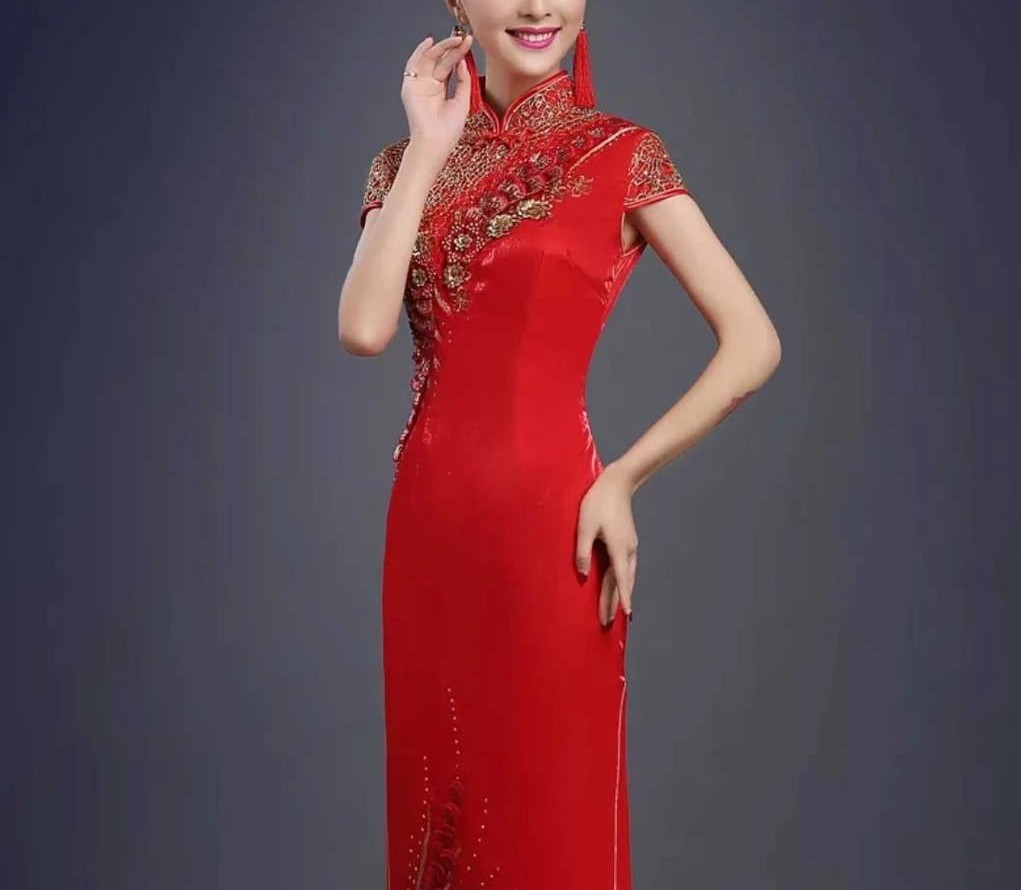 Embroidery Floral Red Wedding Cheongsam/Ao Dai/Qipao Dress