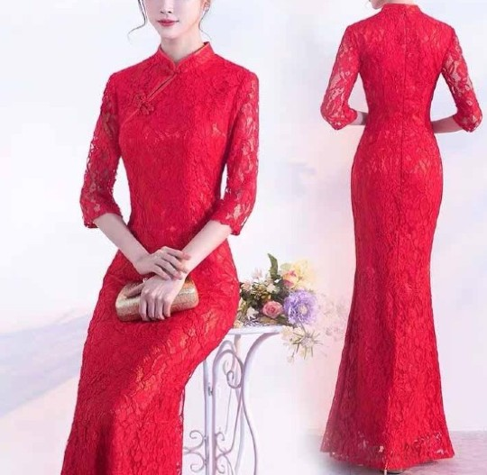 Plain Red Lace Wedding Cheongsam/Ao Dai/Qipao 旗袍/奧黛 Dress