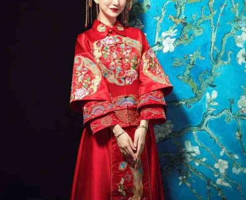 Custom Wedding Kua - Kua/Cheongsam/Qipao - Wedding Kua 龍鳳卦/秀禾服 in Layered Red & Gold - Available Worldwide