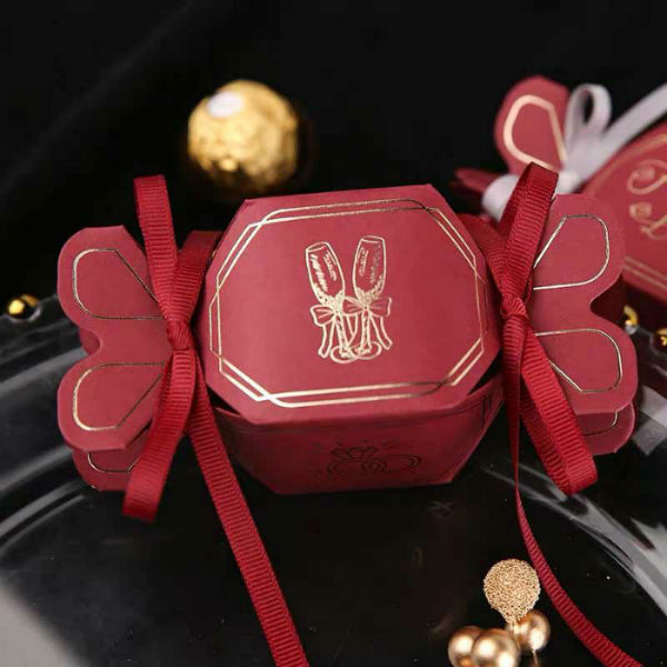 50 PCS Burgundy Wedding Candy Boxes for Guest Favors