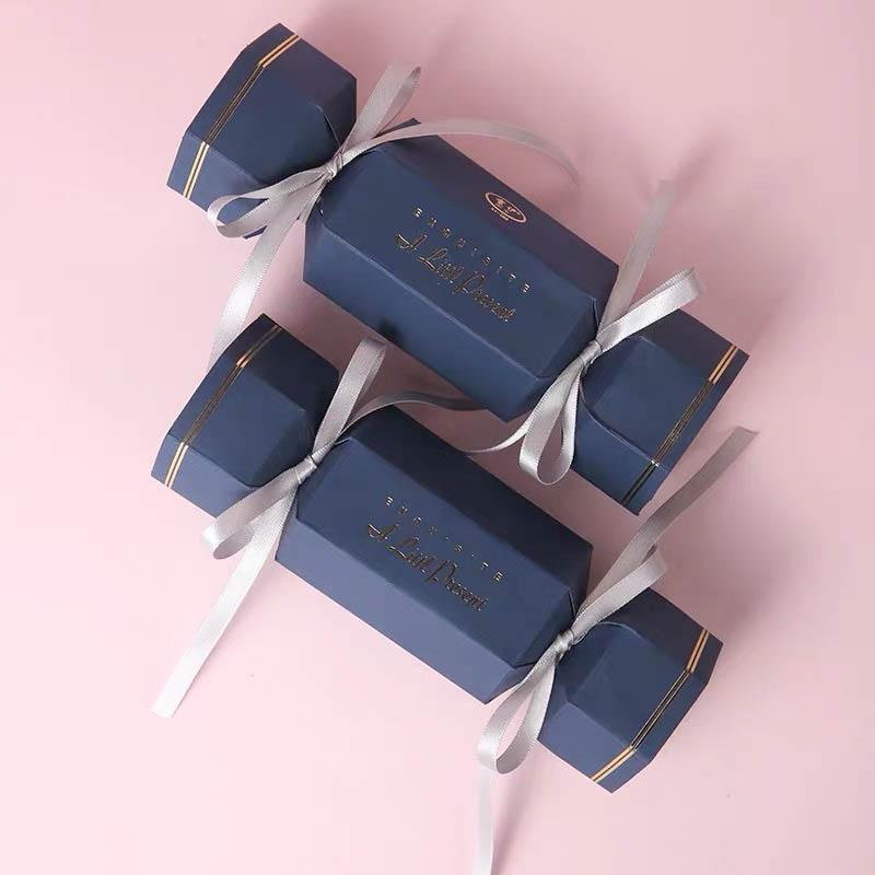 50 PCS Candy Shaped Blue Wedding Candy Boxes for Guest Favors