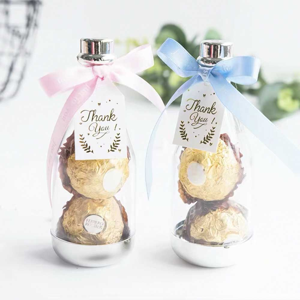 50 PCS Guest FavorsWedding Candy Boxes Bottle with Ribbon