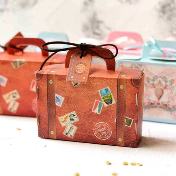 50 PCS Leather Luggage Gift & Favor Boxes for Wedding Candy
