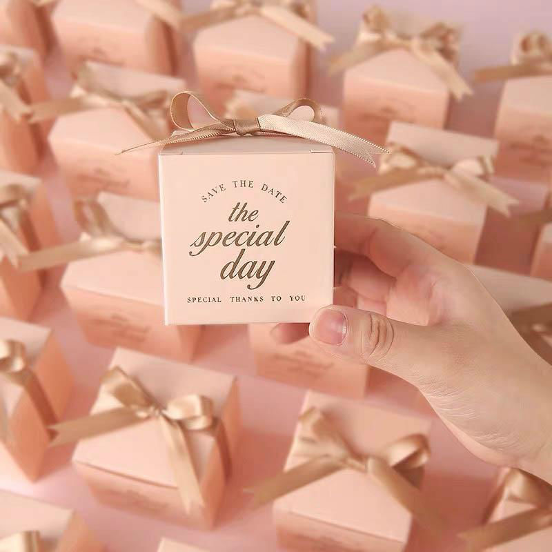 50 PCS Blush Pink Square Wedding Candy Boxes for Guest Favors