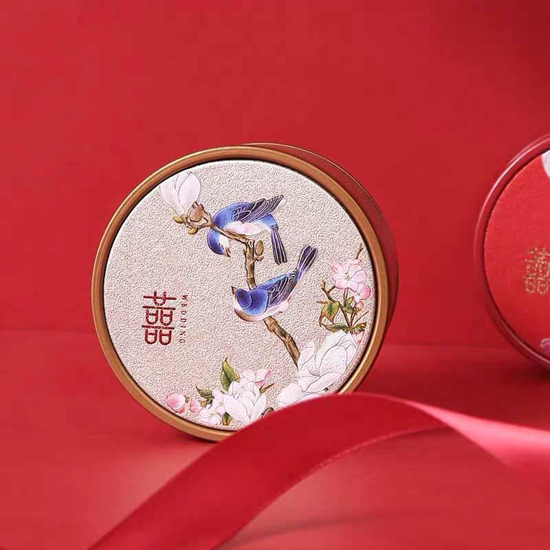 50 PCS Elegant Chinese Beige Wedding Candy Boxes for Guest Favors