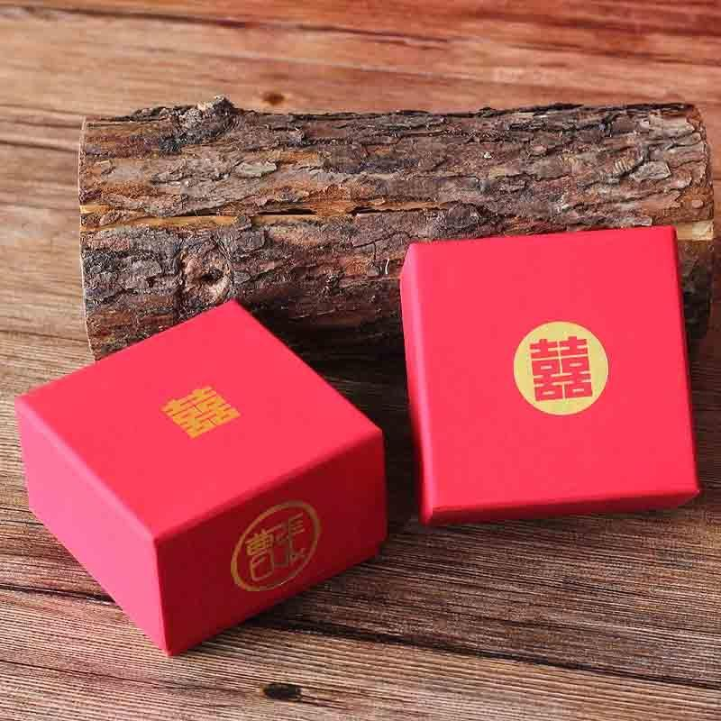 50 PCS Custom Initials Red Wedding Candy Boxes for Guest Favors with Double Happiness Logo
