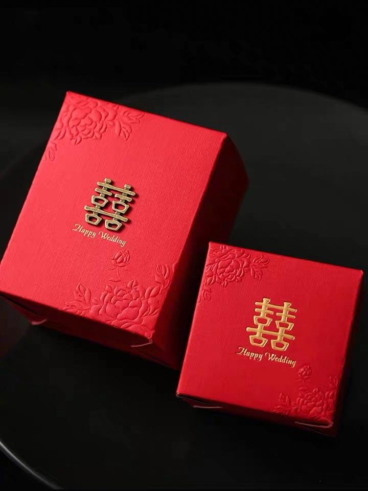 50 PCS Plain Red Candy Boxes with Floral Engraved Designed for Guest Favors