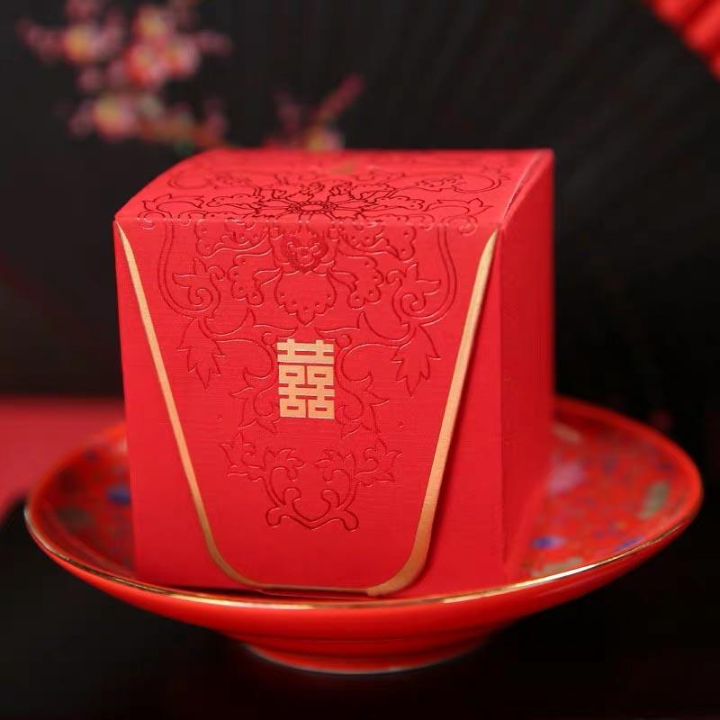 50 PCS Guest Favors Rectangular Wedding Candy Boxes Chinese Style With Black Floral Print And Double