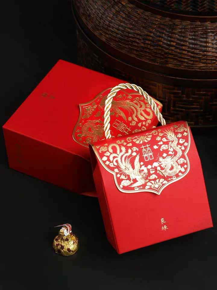 50 PCS Guest Favors Chinese Style Wedding Candy Boxes with Blue Lining And Golden Handle