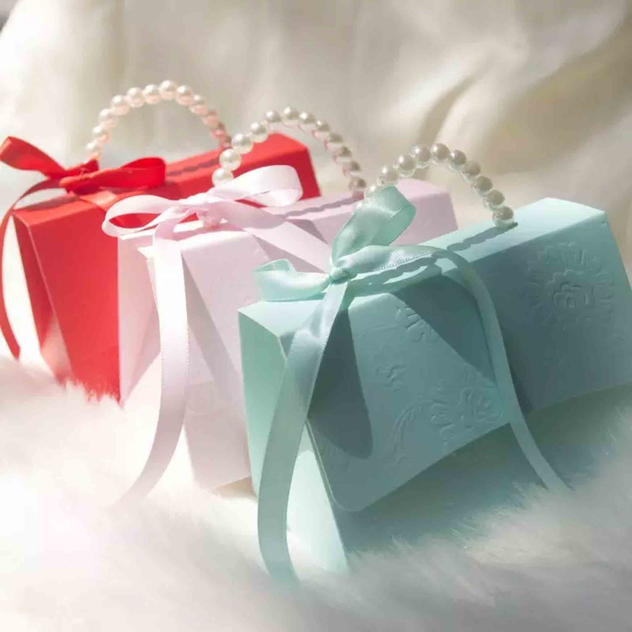 50 PCS Pearl Handle Wedding Candy Box Favor Gifts