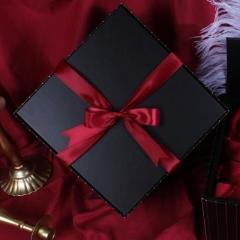 送伴娘的礼物-3 PCS & Up Black Bridesmaid Gifts Box with Matching Ribbon