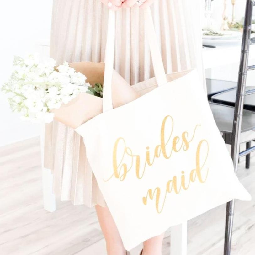 5 PCS White Bridesmaids Tote Bag with Gold Foil Custom Logo or Text