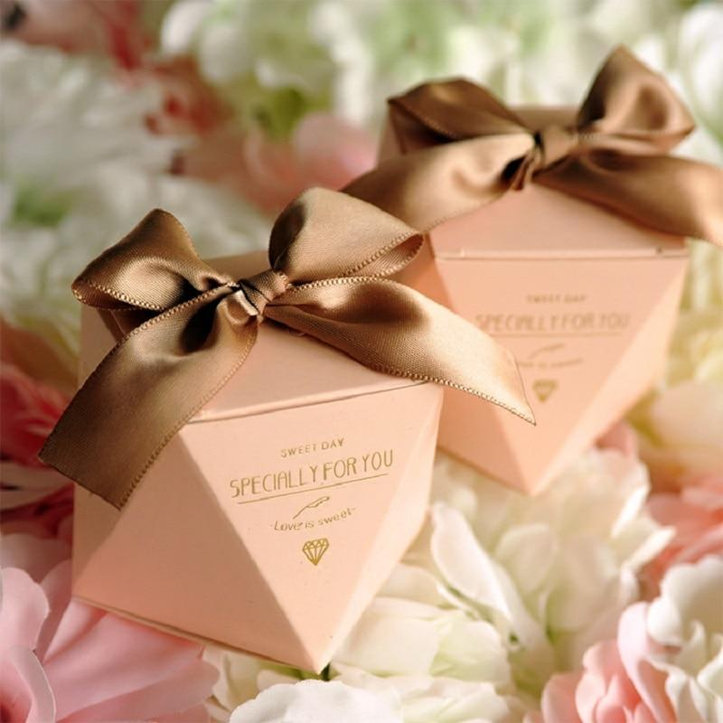 50 PCS Blush Peach Pink Diamond Shaped Wedding Candy Box Gifts & Favors - Brown Ribbon