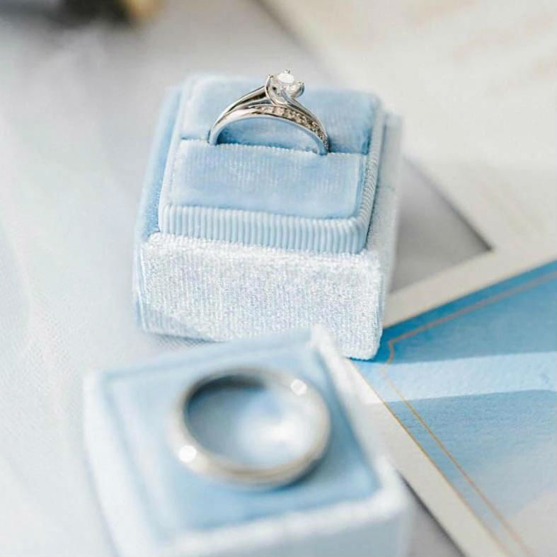Baby Blue Velvet Ring Box - Square Shape